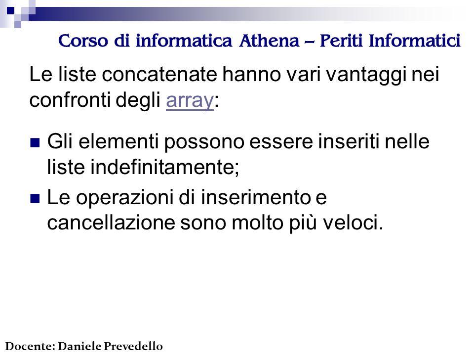 Corso di informatica Athena – Periti Informatici Le liste concatenate hanno vari vantaggi nei confronti degli array:array Docente: Daniele Prevedello