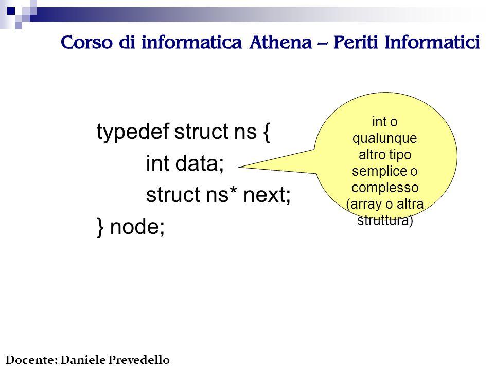 Corso di informatica Athena – Periti Informatici typedef struct ns { int data; struct ns* next; } node; Docente: Daniele Prevedello int o qualunque altro tipo semplice o complesso (array o altra struttura)