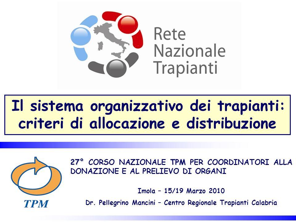 Il sistema organizzativo dei trapianti: criteri di allocazione e distribuzione 27° TPM 27° CORSO NAZIONALE TPM PER COORDINATORI ALLA DONAZIONE E AL PR