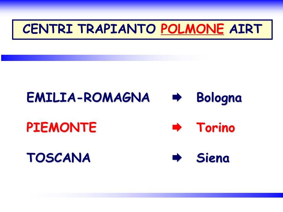 EMILIA-ROMAGNA Bologna PIEMONTE Torino TOSCANA Siena CENTRI TRAPIANTO POLMONE AIRT
