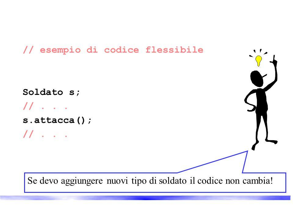 // esempio di codice flessibile Soldato s; //... s.attacca(); //... Se devo aggiungere nuovi tipo di soldato il codice non cambia!