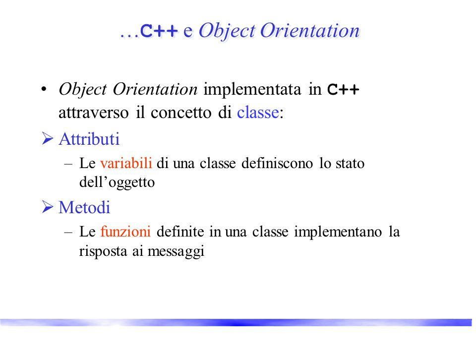 … C++ e Object Orientation Object Orientation implementata in C++ attraverso il concetto di classe: Attributi –Le variabili di una classe definiscono lo stato delloggetto Metodi –Le funzioni definite in una classe implementano la risposta ai messaggi