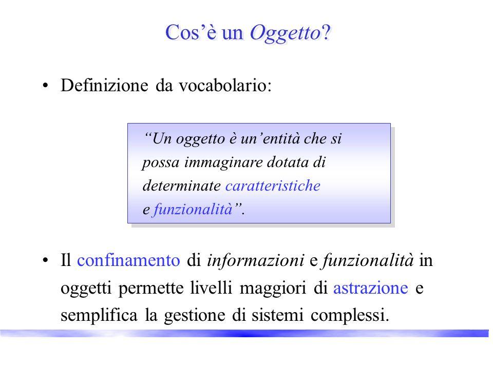Cosè un Oggetto? Definizione da vocabolario: Il confinamento di informazioni e funzionalità in oggetti permette livelli maggiori di astrazione e sempl