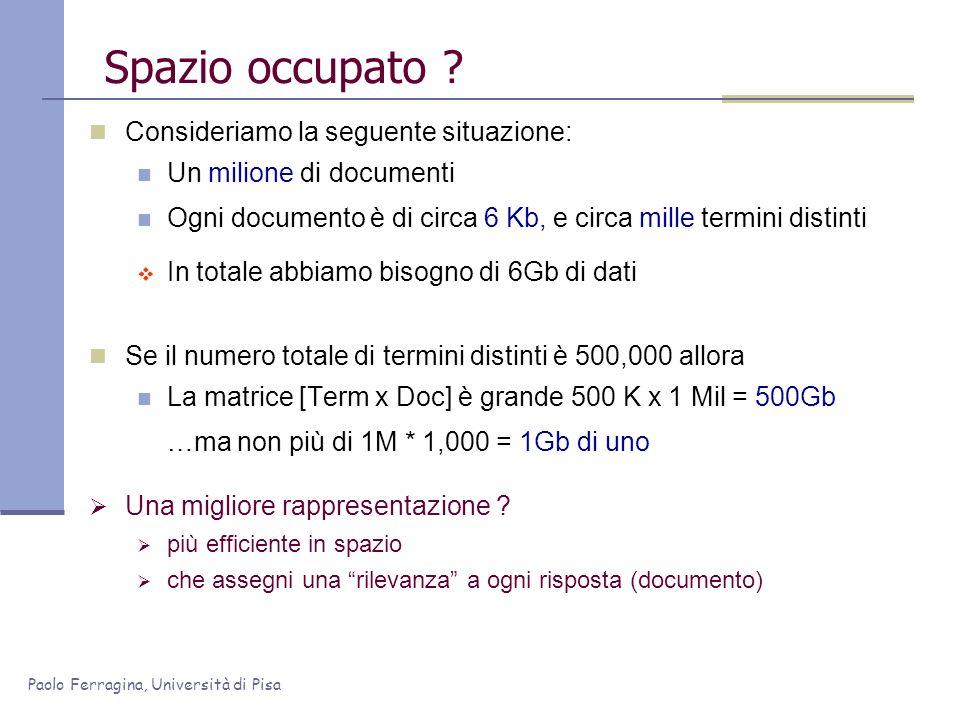 Paolo Ferragina, Università di Pisa Spazio occupato ? Consideriamo la seguente situazione: Un milione di documenti Ogni documento è di circa 6 Kb, e c