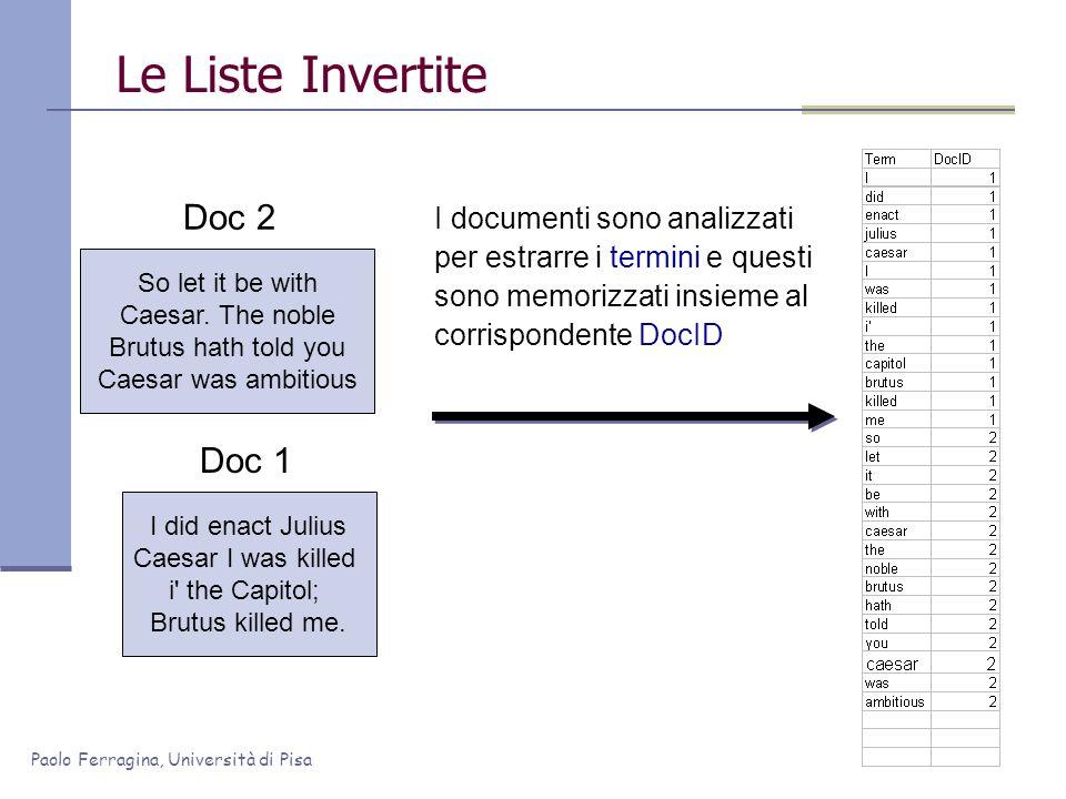 Paolo Ferragina, Università di Pisa I documenti sono analizzati per estrarre i termini e questi sono memorizzati insieme al corrispondente DocID I did
