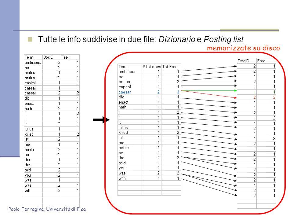 Paolo Ferragina, Università di Pisa Tutte le info suddivise in due file: Dizionario e Posting list memorizzate su disco