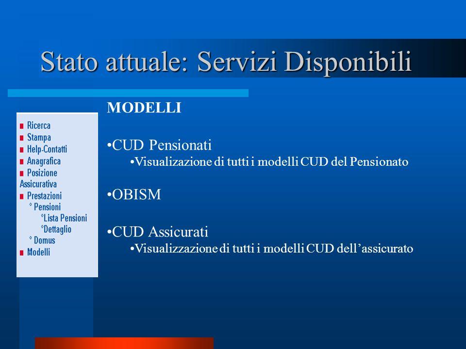 Stato attuale: Servizi Disponibili MODELLI CUD Pensionati Visualizazione di tutti i modelli CUD del Pensionato OBISM CUD Assicurati Visualizzazione di