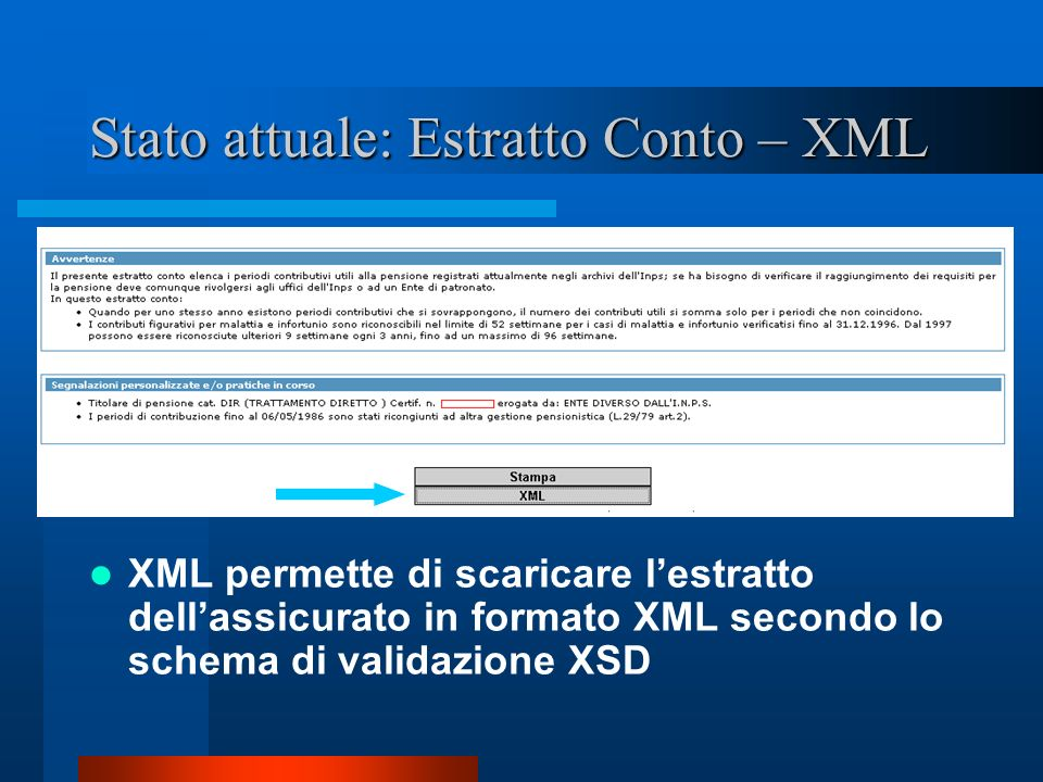 Stato attuale: Estratto Conto – XML XML permette di scaricare lestratto dellassicurato in formato XML secondo lo schema di validazione XSD