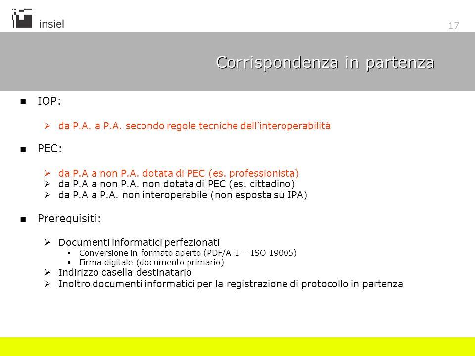 17 Corrispondenza in partenza IOP: da P.A. a P.A. secondo regole tecniche dellinteroperabilità PEC: da P.A a non P.A. dotata di PEC (es. professionist