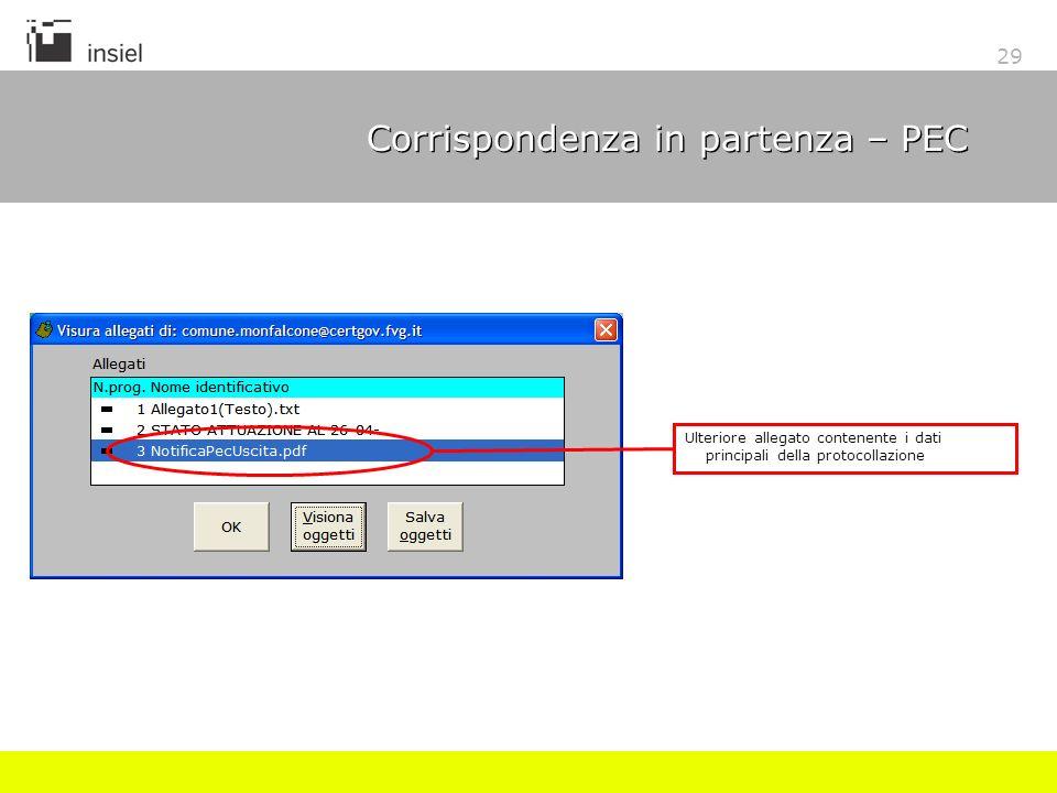 29 Corrispondenza in partenza – PEC Ulteriore allegato contenente i dati principali della protocollazione