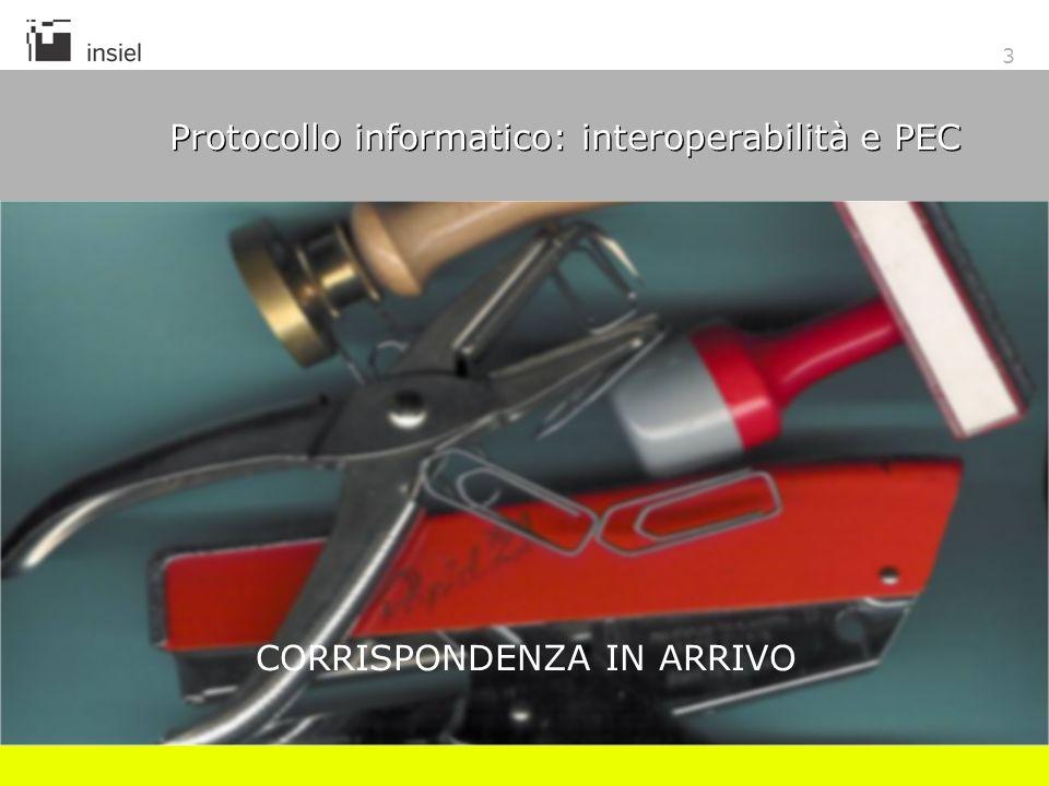 3 Protocollo informatico: interoperabilità e PEC CORRISPONDENZA IN ARRIVO