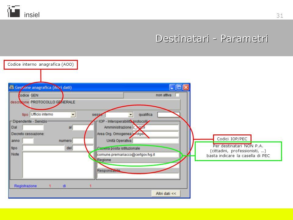31 Destinatari - Parametri Codice interno anagrafica (AOO) Codici IOP/PEC Per destinatari NON P.A. (cittadini, professionisti, …) basta indicare la ca