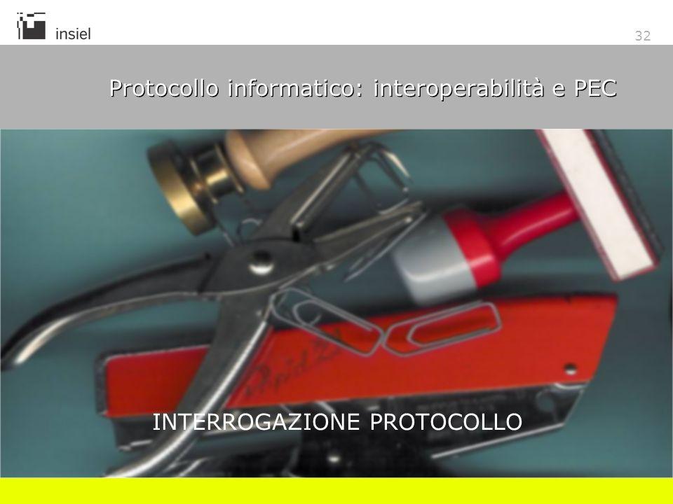 32 Protocollo informatico: interoperabilità e PEC INTERROGAZIONE PROTOCOLLO