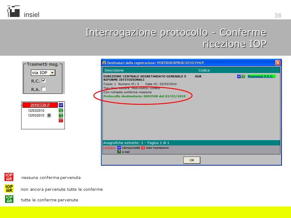 36 Interrogazione protocollo - Conferme ricezione IOP nessuna conferma pervenuta non ancora pervenute tutte le conferme tutte le conferme pervenute