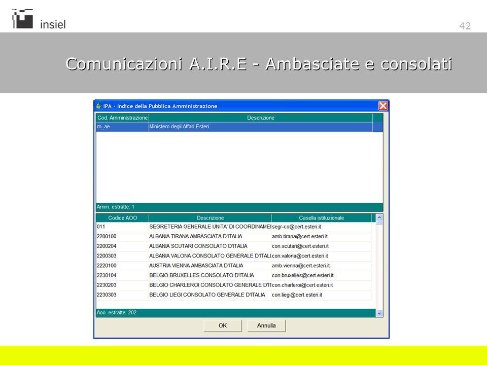 42 Comunicazioni A.I.R.E - Ambasciate e consolati