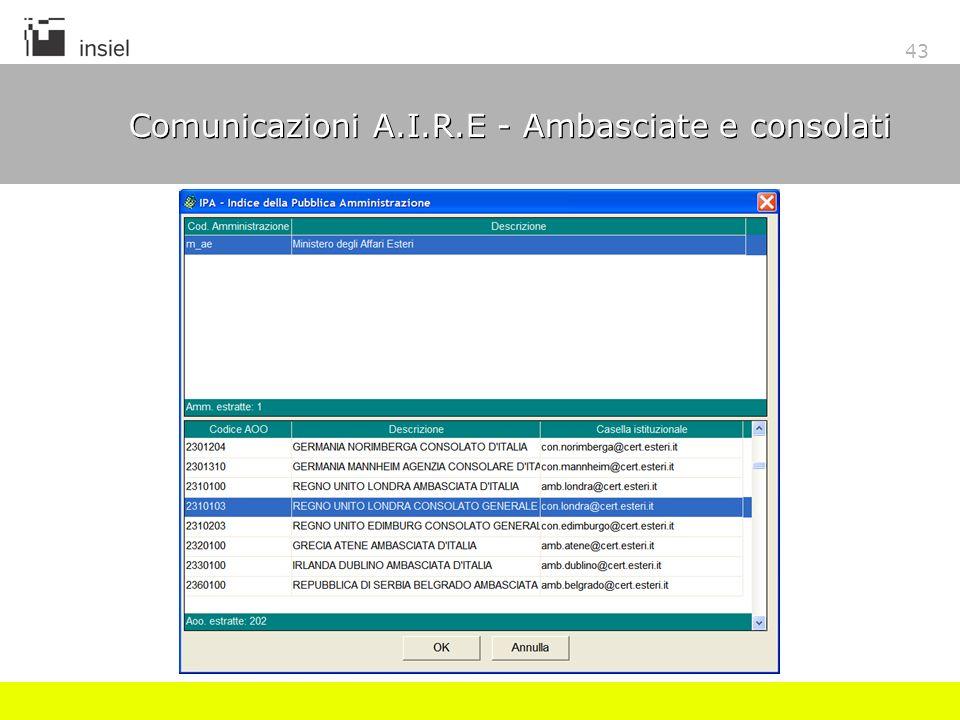 43 Comunicazioni A.I.R.E - Ambasciate e consolati