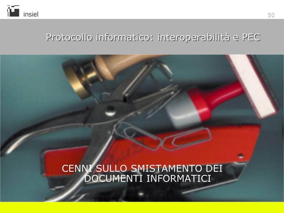 50 Protocollo informatico: interoperabilità e PEC CENNI SULLO SMISTAMENTO DEI DOCUMENTI INFORMATICI