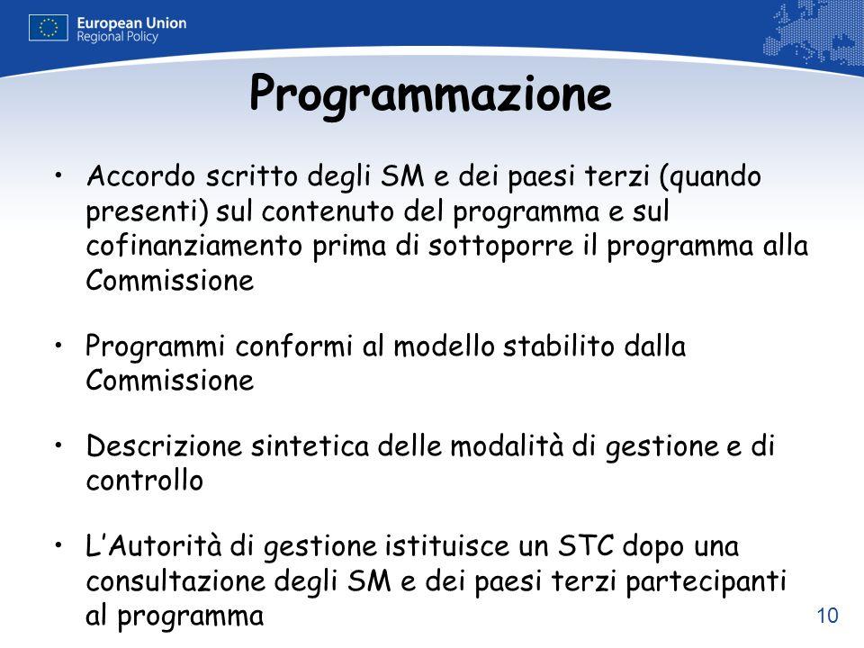 10 Programmazione Accordo scritto degli SM e dei paesi terzi (quando presenti) sul contenuto del programma e sul cofinanziamento prima di sottoporre i