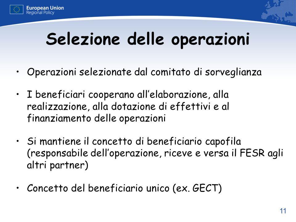 11 Selezione delle operazioni Operazioni selezionate dal comitato di sorveglianza I beneficiari cooperano allelaborazione, alla realizzazione, alla do