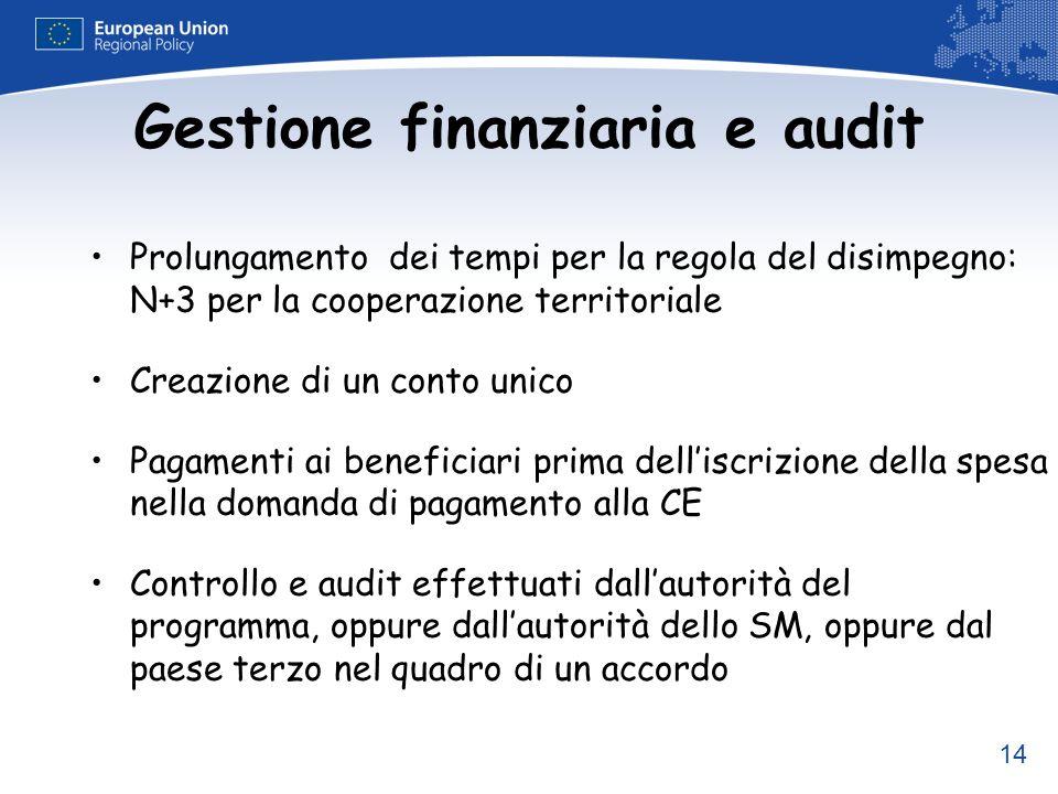 14 Gestione finanziaria e audit Prolungamento dei tempi per la regola del disimpegno: N+3 per la cooperazione territoriale Creazione di un conto unico