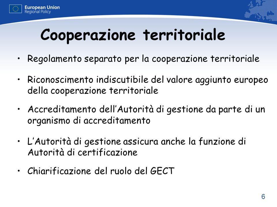 6 Cooperazione territoriale Regolamento separato per la cooperazione territoriale Riconoscimento indiscutibile del valore aggiunto europeo della coope