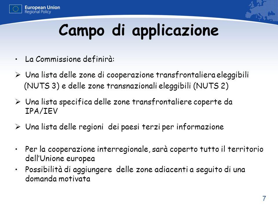 7 Campo di applicazione La Commissione definirà: Una lista delle zone di cooperazione transfrontaliera eleggibili (NUTS 3) e delle zone transnazionali