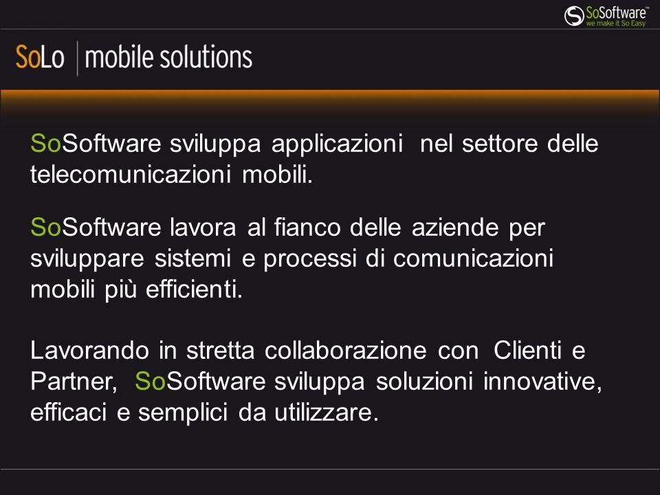 SoSoftware sviluppa applicazioni nel settore delle telecomunicazioni mobili. SoSoftware lavora al fianco delle aziende per sviluppare sistemi e proces