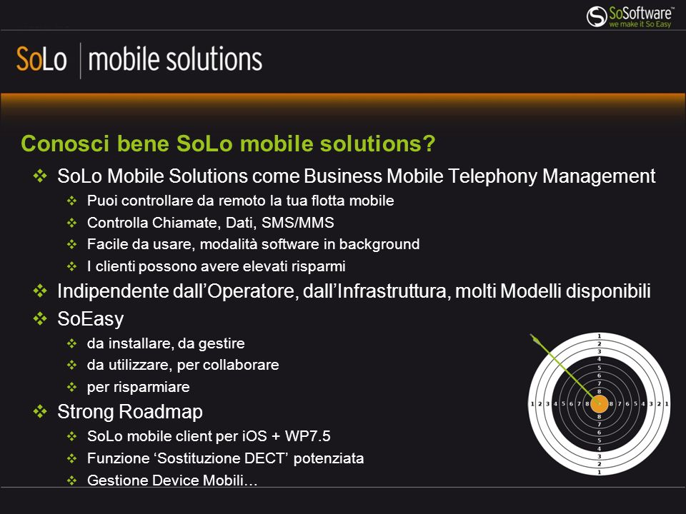 Conosci bene SoLo mobile solutions? SoLo Mobile Solutions come Business Mobile Telephony Management Puoi controllare da remoto la tua flotta mobile Co