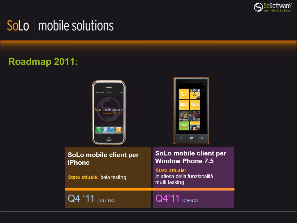 Roadmap 2011: Q4 11 (previsto) SoLo mobile client per iPhone Stato attuale: beta testing Q411 (previsto) SoLo mobile client per Window Phone 7.5 Stato