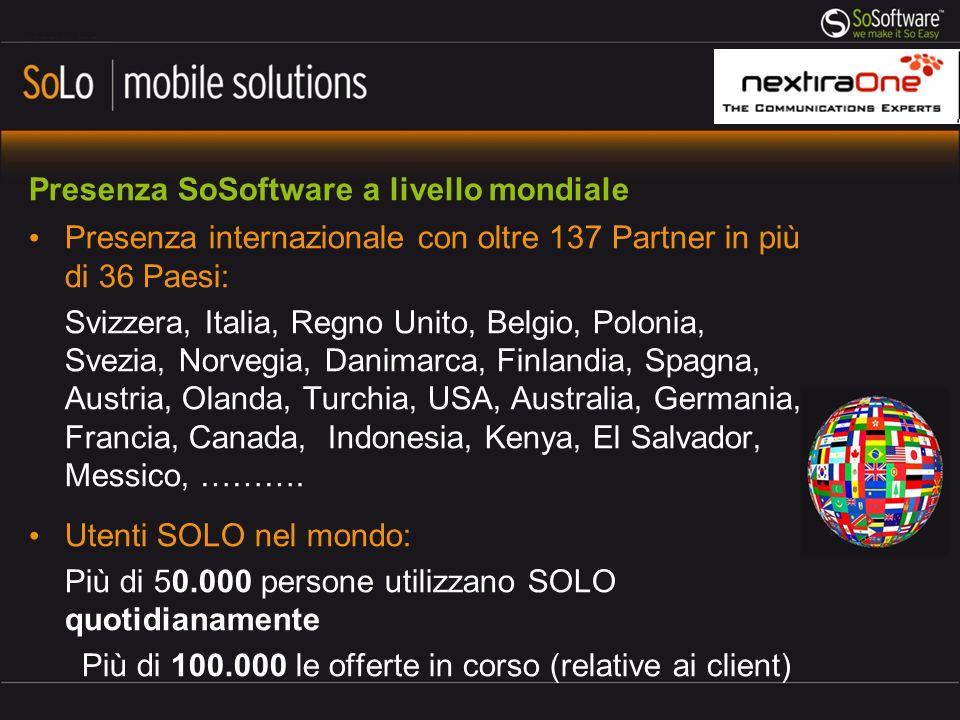 Presenza SoSoftware a livello mondiale Presenza internazionale con oltre 137 Partner in più di 36 Paesi: Svizzera, Italia, Regno Unito, Belgio, Poloni