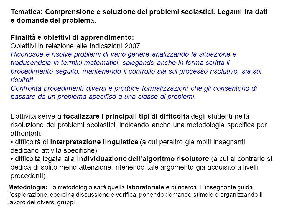 Tematica: Comprensione e soluzione dei problemi scolastici. Legami fra dati e domande del problema. Finalità e obiettivi di apprendimento: Obiettivi i