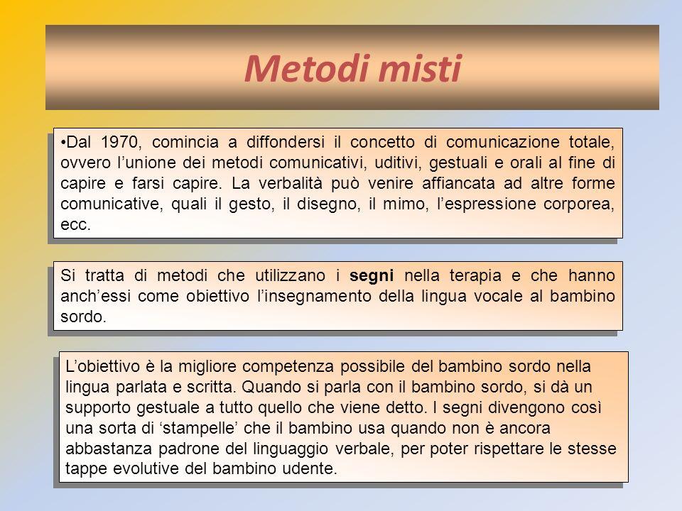 Metodi misti Dal 1970, comincia a diffondersi il concetto di comunicazione totale, ovvero lunione dei metodi comunicativi, uditivi, gestuali e orali a