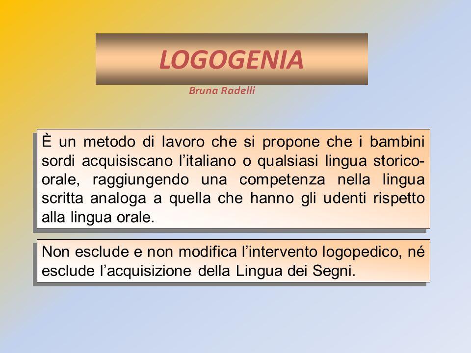 LOGOGENIA Bruna Radelli È un metodo di lavoro che si propone che i bambini sordi acquisiscano litaliano o qualsiasi lingua storico- orale, raggiungend