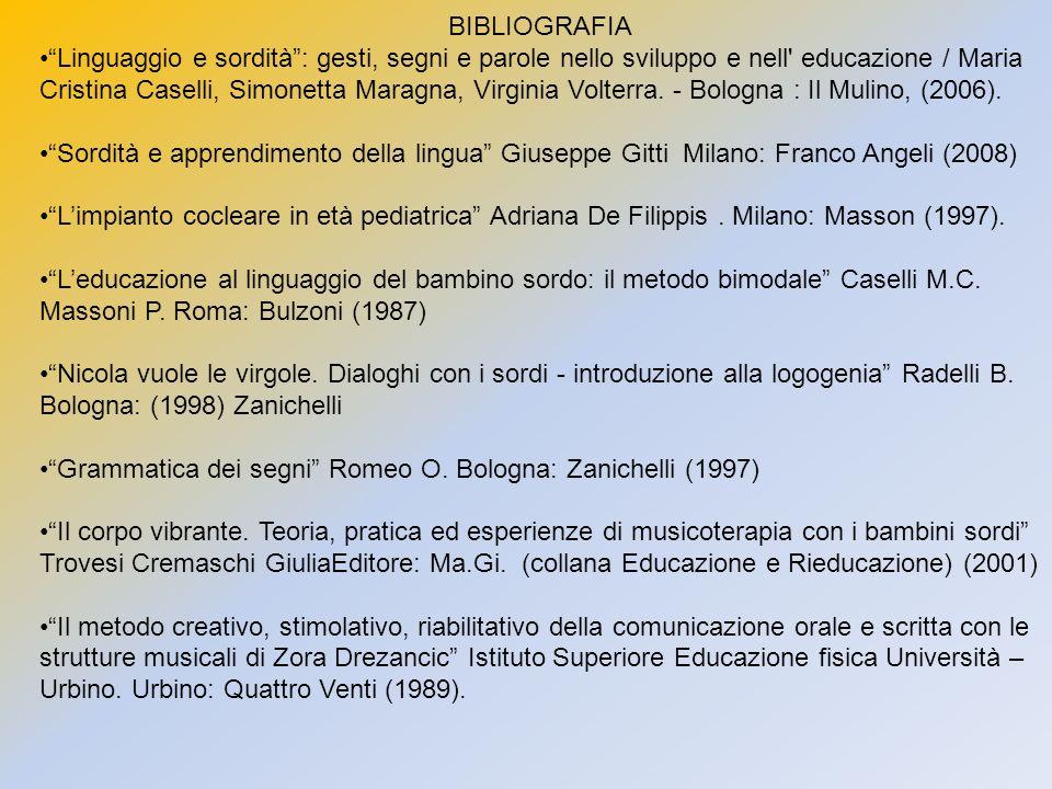 BIBLIOGRAFIA Linguaggio e sordità: gesti, segni e parole nello sviluppo e nell' educazione / Maria Cristina Caselli, Simonetta Maragna, Virginia Volte