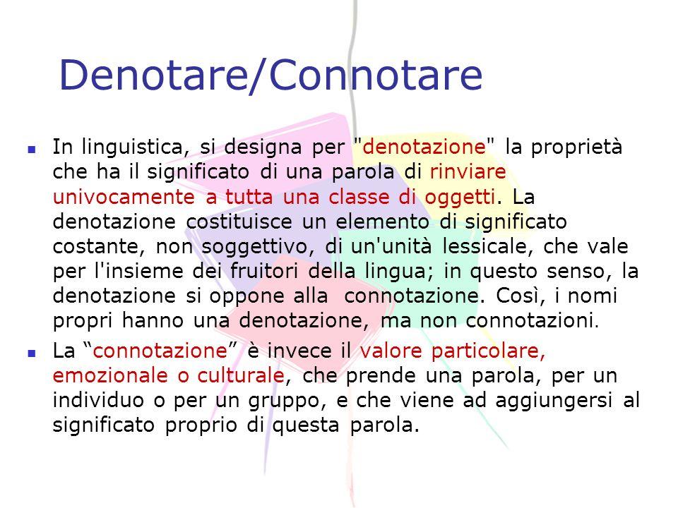 12 Denotare/Connotare In linguistica, si designa per