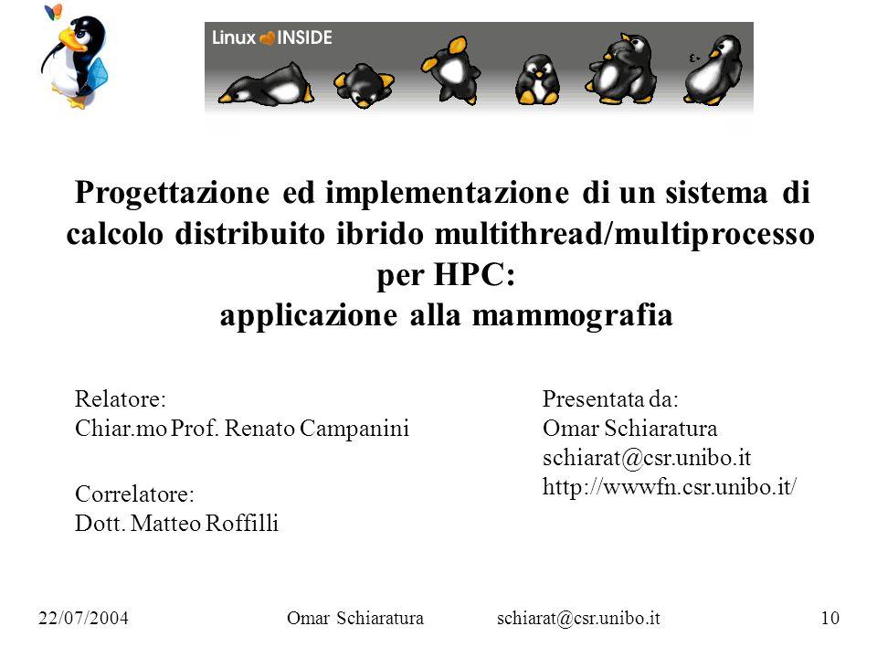 Omar Schiaraturaschiarat@csr.unibo.it 10 22/07/2004 Progettazione ed implementazione di un sistema di calcolo distribuito ibrido multithread/multiproc