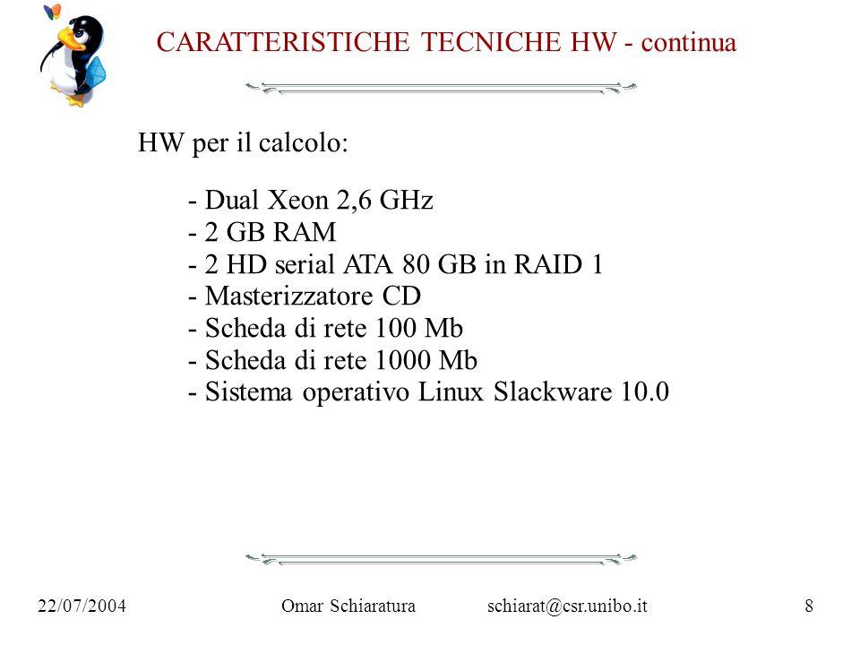 Omar Schiaraturaschiarat@csr.unibo.it8 22/07/2004 CARATTERISTICHE TECNICHE HW - continua HW per il calcolo: - Dual Xeon 2,6 GHz - 2 GB RAM - 2 HD seri