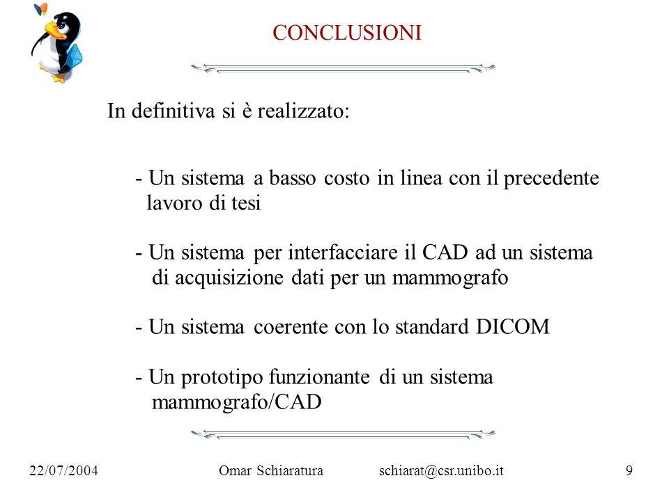 Omar Schiaraturaschiarat@csr.unibo.it9 22/07/2004 CONCLUSIONI In definitiva si è realizzato: - Un sistema a basso costo in linea con il precedente lav