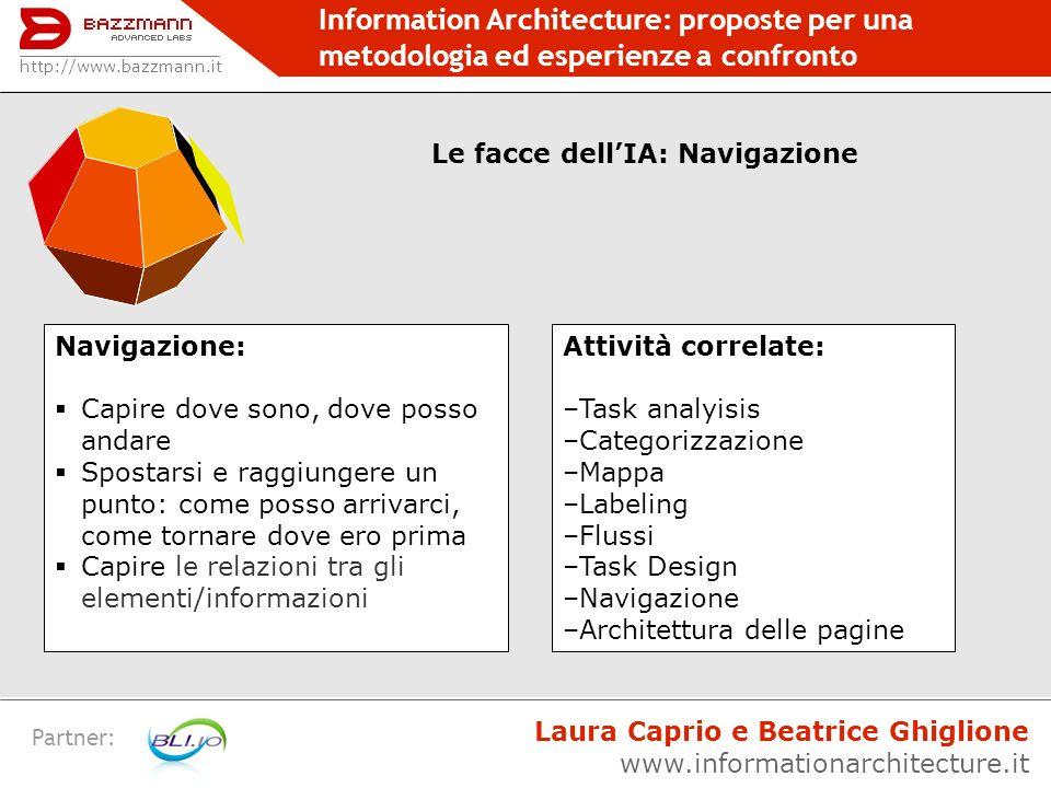Information Architecture: proposte per una metodologia ed esperienze a confronto Partner: http://www.bazzmann.it Le facce dellIA: Navigazione Navigazi