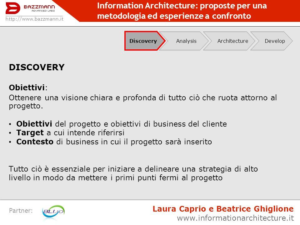Information Architecture: proposte per una metodologia ed esperienze a confronto Partner: DISCOVERY Obiettivi: Ottenere una visione chiara e profonda
