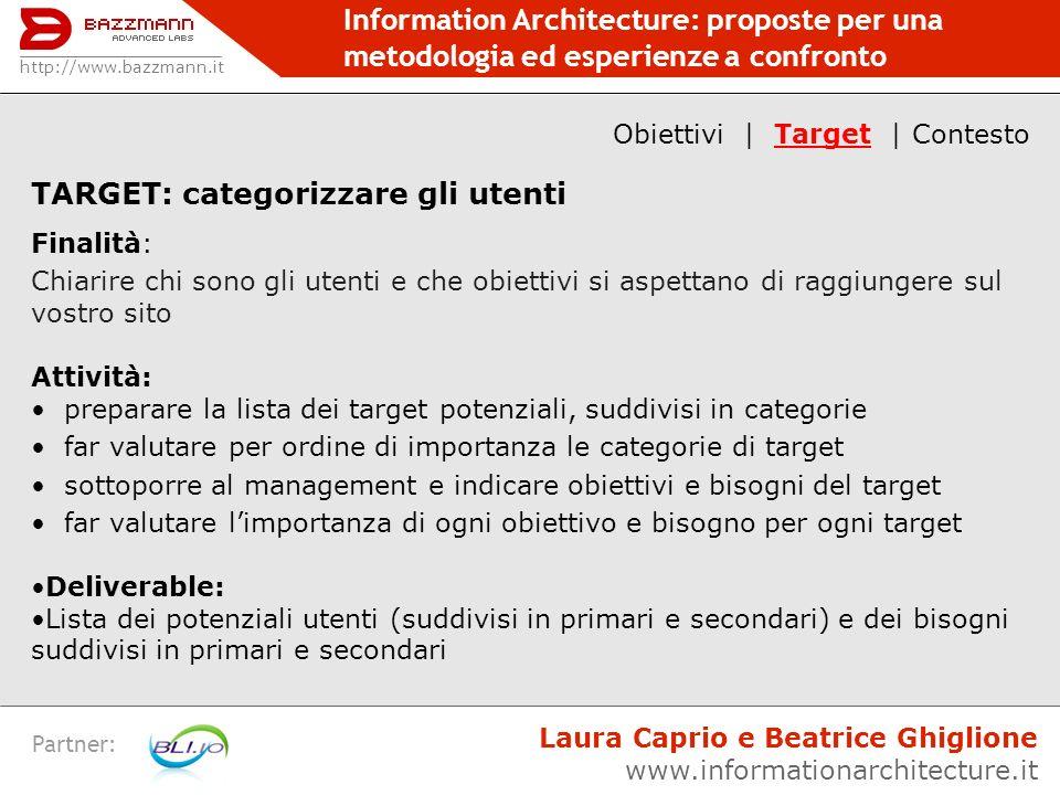 Information Architecture: proposte per una metodologia ed esperienze a confronto Partner: TARGET: categorizzare gli utenti Finalità: Chiarire chi sono