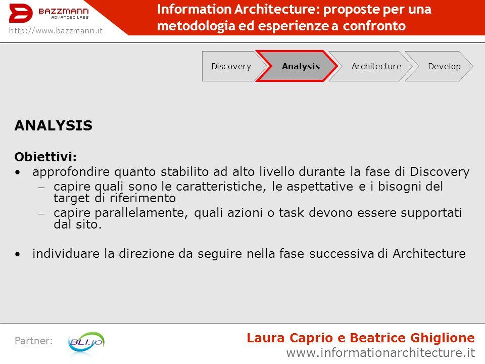 Information Architecture: proposte per una metodologia ed esperienze a confronto Partner: ANALYSIS Obiettivi: approfondire quanto stabilito ad alto li