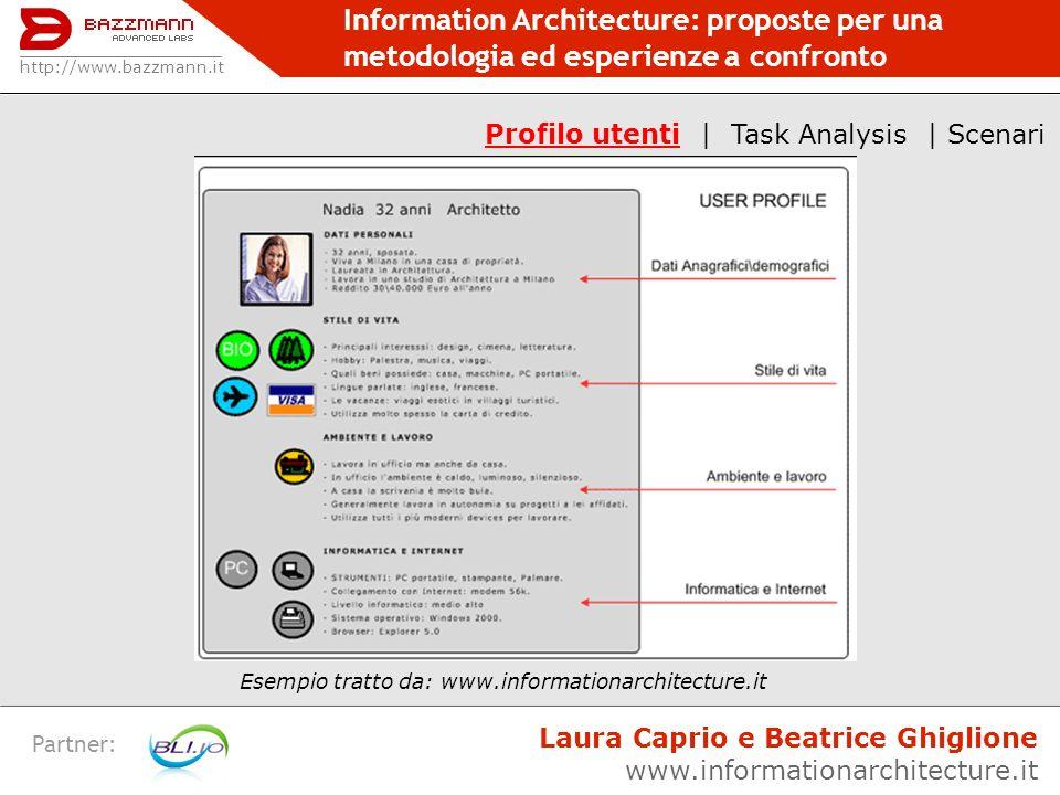 Information Architecture: proposte per una metodologia ed esperienze a confronto Partner: http://www.bazzmann.it Laura Caprio e Beatrice Ghiglione www