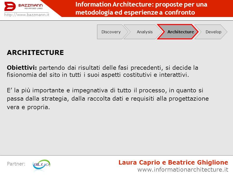 Information Architecture: proposte per una metodologia ed esperienze a confronto Partner: ARCHITECTURE Obiettivi: partendo dai risultati delle fasi pr