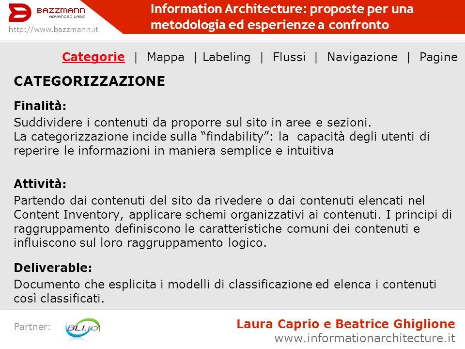 Information Architecture: proposte per una metodologia ed esperienze a confronto Partner: CATEGORIZZAZIONE Finalità: Suddividere i contenuti da propor