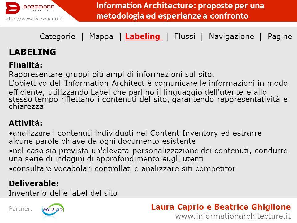 Information Architecture: proposte per una metodologia ed esperienze a confronto Partner: LABELING Finalità: Rappresentare gruppi più ampi di informaz