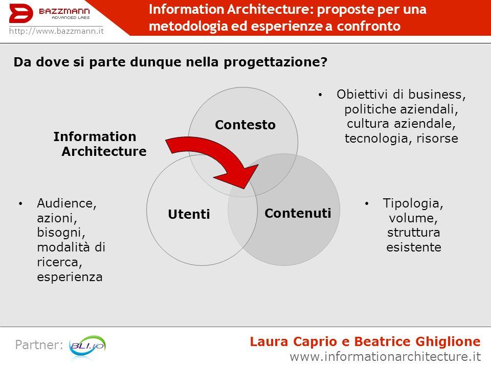 Information Architecture: proposte per una metodologia ed esperienze a confronto Partner: http://www.bazzmann.it Laura Caprio e Beatrice Ghiglione www.informationarchitecture.it Profilo utenti | Task Analysis | Scenari