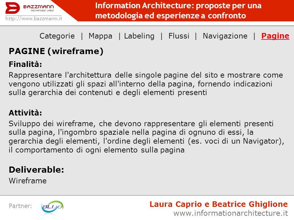 Information Architecture: proposte per una metodologia ed esperienze a confronto Partner: PAGINE (wireframe) Finalità: Rappresentare l'architettura de
