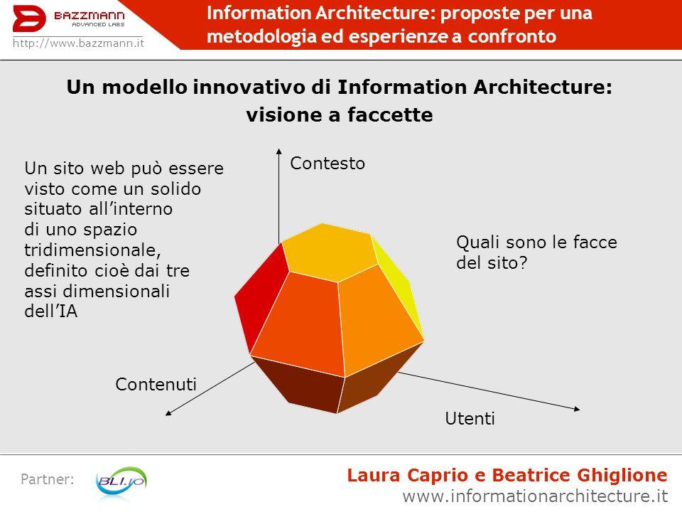 Information Architecture: proposte per una metodologia ed esperienze a confronto Partner: CATEGORIZZAZIONE Finalità: Suddividere i contenuti da proporre sul sito in aree e sezioni.