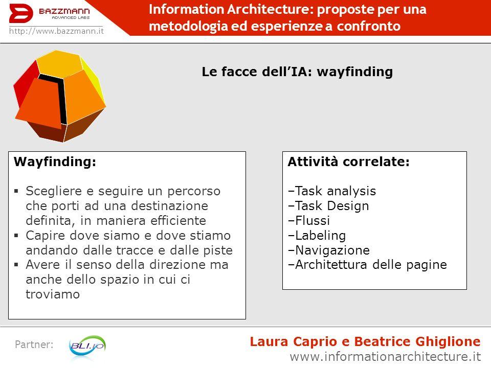 Information Architecture: proposte per una metodologia ed esperienze a confronto Partner: http://www.bazzmann.it Le facce dellIA: wayfinding Wayfindin